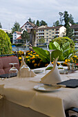 Ready laid table with table settings on the terrace of Restaurant Hotel Fischerzunft, Rhine, Schaffhausen, Switzerland