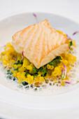 Fish dish with risotto, Restaurant Falconera, Öhningen-Schienen, Baden-Württemberg, Lake Constance, Germany