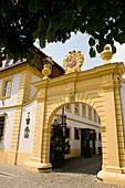 Gate with emblem in the sunlight, Hotel Zehntkeller, Iphofen, Franconia, Bavaria, Germany
