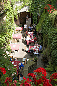 View inside a courtyard of a wine bar, Wurzburg, Bavaria, Germany