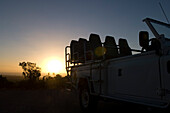 Detail of a jeep at sunset, Gansbaai, Grootbos Private Nature Reserve, South Africa, Africa