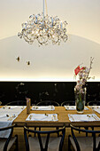 Table ready laid with place settings and decorations, Reestaurant Hollman Salon, Vienna, Austria