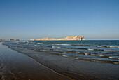 View at the ocean and the Daymaniyat Islands on the horizon, Ras Al Sawadi, Oman, Asia