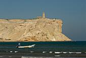 Fishing boat driving off the Daymaniyat Islands, Ras Al Sawadi, Oman, Asia