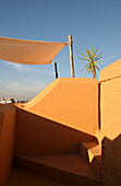 Detail of a deserted roof deck on a sunny day, Marrakesh, Morocco, Africa