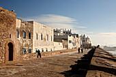 People on the old fortification Sqala de la Kasbah, Essaouira, Morocco, Africa