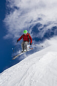 Skier jumping, Stockhorn, Zermatt, Canton of Valais, Switzerland