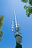 Decorative Maypole, Tradition, Folklore, Oberhaching, Upper Bavaria, Bavaria, Germany