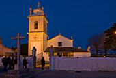 Church of Sao Joao Degolado at night, Terrugem, near Sintra, Lisbon District, Portugal