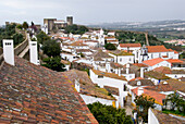 Town of Obidos with castle and fortification walls, Obidos, Leiria, Estremadura, Portugal