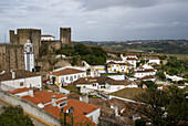 Old town of Obidos with castle and fortification walls, Obidos, Leiria, Estremadura, Portugal