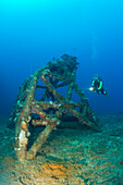 Diver and Blast Tower on Flight Deck of USS Saratoga, Marshall Islands, Bikini Atoll, Micronesia, Pacific Ocean