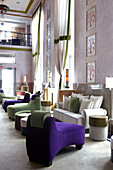 Interior view of the deserted lobby at the Victor Hotel, South Beach, Miami Beach, Florida, USA