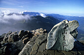 Stone with characters on the main peak of Yushan mountains at Yushan National Park, Taiwan, Asia