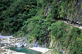 Hikers at the remote Mystery Valley at Taroko National Park, Taiwan, Asia