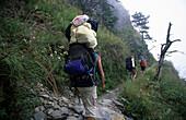 Aboriginal porter on the way to Yushan mountain, Yushan National Park, Taiwan, Asia