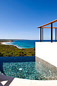 The deserted swimming pool of the Southern Ocean Lodge under blue sky, Hanson Bay, Kangaroo Island, South Australia, Australia