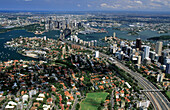 Aerial view over North Sydney, view at the harbour, the city and Darling Harbour, Sydney, New South Wales, Australia