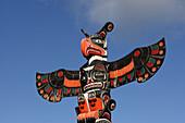 Nimkish villiage Totem pole. Kwakwaka'wakw indian tribe. Nimkish villiage. Alert Bay. Cormorant Island. British Columbia, Canada