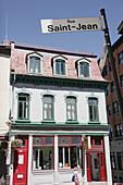 Canada, Quebec City, Rue Saint Jean, street sign, historic building, business