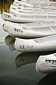 Calm, Calmness, Canoe, Canoeing, Canoes, Color, Colour, Daytime, Detail, Details, Dock, Docks, Exterior, Lake, Lakes, Lined up, Lined-up, Lining up, Lining-up, Mirror image, Mirror images, Navigation, Nobody, Outdoor, Outdoors, Outside, Peaceful, Peaceful