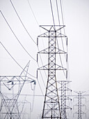 High power lines in Los Angeles, California, USA
