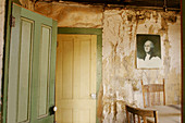 A picture of George Washingon hangs on the wall of a Bodie residence, California, USA