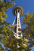The Space Needle and fall color, Seattle, Washington, USA