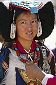 A local woman wearing barrak at Leh festival, Leh, Ladakh, Jammu Kashmir, India