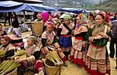 Flower Hmong minority women at Can Cau Market, Lao Cai Province, Vietnam