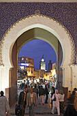 The blue gate Bab Bou Jeloud, entrance to the medina old town of Fes el Bali in the early evening, Fes, Morocco, Maghreb, Morocco