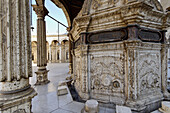 In the middle of the courtyard is a marble ablution fountain with a carved wooden roof on columns. The Mosque of Muhammad Ali at the Citadel built during the first half of the 19th century. Cairo city. Egypt.