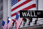 Wall Street sign, Manhattan, New York City, New York, USA