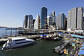 Historic ships at pier 17, Manhattan, New York City, New York, USA