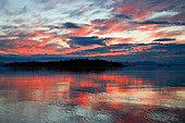The sea and coastline in the afterglow, Inside Passage, Southeast Alaska, USA