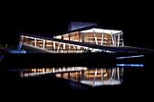 The illluminated opera house at night, Oslo, Norway