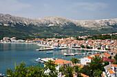 View at the harbour at the bay of Baska, Krk Island, Croatia, Europe