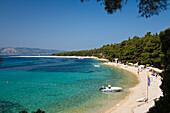 People at the beach under blue sky, Golden Horn, Bol, Brac Island, Dalmatia, Croatia, Europe