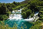 The Krka waterfalls in the sunlight, Krka National Park, Dalmatia, Croatia, Europe