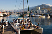 Sunset Cruise Catamaran Le Tigre with Waterfront and Table Mountain, Cape Town, Western Cape, South Africa, Africa