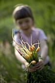 Girl (4 years) holding carrots, biological dynamic (bio-dynamic) farming, Lower Saxony, Germany