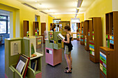 People visiting Erich Kastner Museum, Dresden, Saxony, Germany