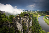View from Bastei over river Elbe, Saxon Switzerland, Elbe Sandstone Mountains, Saxony, Germany