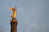The Victory Column, Siegessäule with golden statue of the victory goddess, at the Grosser Stern, in Berlin, Germany