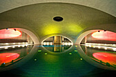 The Liquidrom, circular pool, under a vaulted roof. Light and sound used for effects, wellness, Berlin, Germany