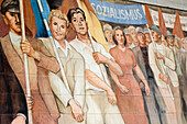 The GDR-era Max Lingner mural extolling Socialism on the walls of Federal Ministry of Finance, Berlin