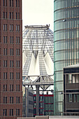 View through Kollhoff Tower and Bahn Tower to Sony Center, Potsdamer Platz, Berlin, Germany