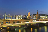 Oberbaum Bridge at night, Berlin, Germany