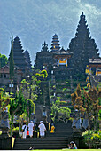 People climbing stairs at Besakih, the balinese main temple, Bali, Indonesia, Asia