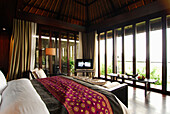 Bed at a bungalow at Bulgari Resort, Bukit Badung, Southern Bali, Indonesia, Asia